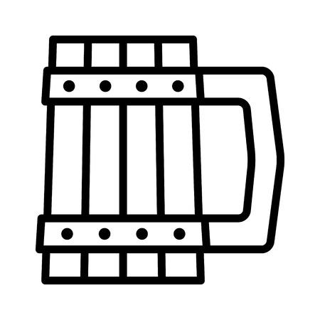 Dwarven tankard  mug line art icon for games and websites
