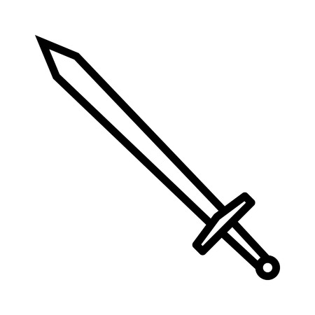 Long sword or claymore blade line art icon for games and websites