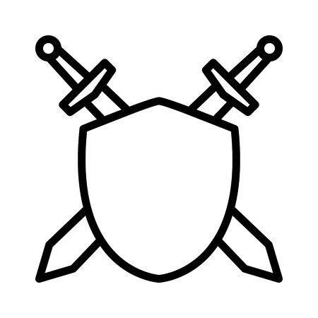sheath: Swords  blades crossed sheath in shield line art icon for games and websites