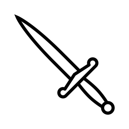 Dagger or short knife for stabbing line art icon for games and websites