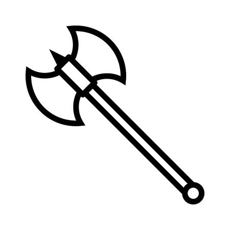 ゲームや web サイトのバトルアックスまたは戦いの斧ライン アート アイコン