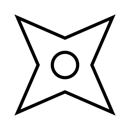 concealed: Ninja shuriken throwing star line art icon for games and websites Illustration