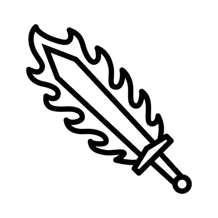 slashing: Flame sword or sword on fire line art icon for games and websites Illustration
