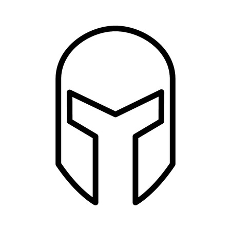 Medieval gladiatorial helmet headgear line art icon for games and websites Ilustração