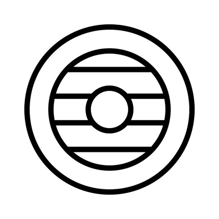 buckler: Buckler round wooden shield line art icon for games and websites
