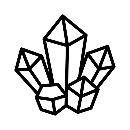 black magic: Magic crystal cluster line art icon for games and websites