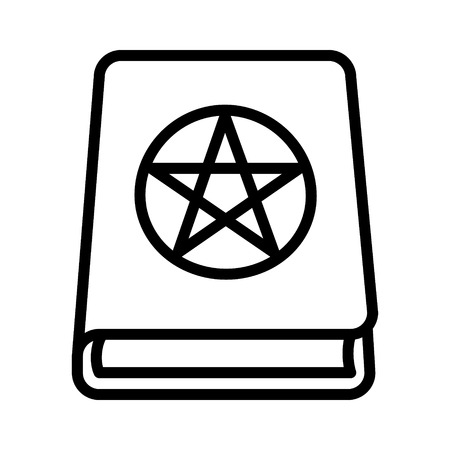 Magic spell book, tome or manual line art icon for games and websites Çizim