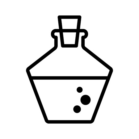 Health or magic mana potion decanter bottle line art icon for games and websites