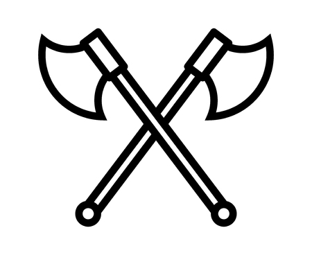 ax: Crossed battleaxe or battle axe line art icon for games and websites