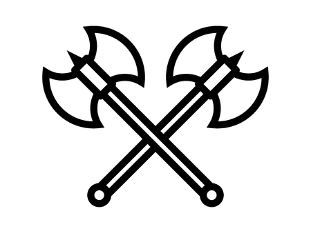 strife: Crossed battleaxe or battle axe with spike line art icon for games and websites Illustration