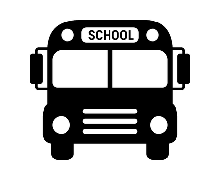School bus or schoolbus transportation vehicle with label flat icon for apps and websites