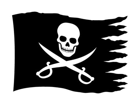 drapeau pirate: drapeau pirate ou une bannière avec le crâne et croisés épées icône plat pour les applications et les sites Web Illustration