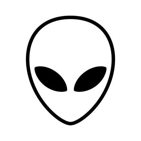 Extraterrestrial alien face or head symbol line art icon for apps and websites