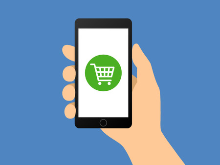 Online shopping with hand holding smartphone flat vector illustration for apps and websites 일러스트