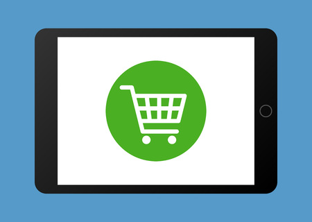 impulsive: Online shopping on tablet flat vector illustration for apps and websites Illustration
