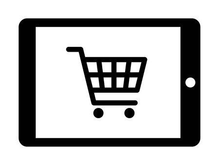 compras compulsivas: Online shopping on tablet flat icon for apps and websites