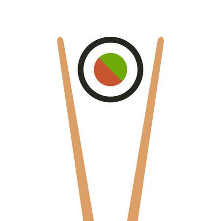 chop sticks: Japanese food - maki roll sushi with chopsticks flat color icon for apps and websites Illustration