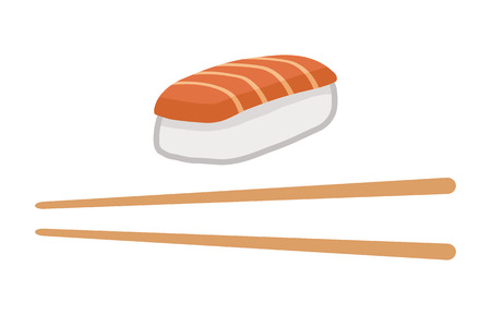 chop sticks: Japanese food - nigiri salmon sushi with chopsticks flat color icon for apps and websites