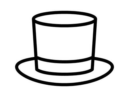 stove pipe: Magic top hat or high hat line art icon for apps and websites