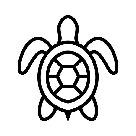바다 거북  자연 앱과 웹 사이트에 대한 해양 거북이 상위 뷰 라인 아트 아이콘 일러스트