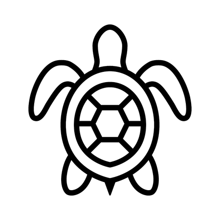 lifeform: Sea turtle  marine turtle top view line art icon for nature apps and websites
