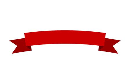 Curved czerwony transparent wektor wstążka płaska konstrukcja do druku oraz na stronach internetowych