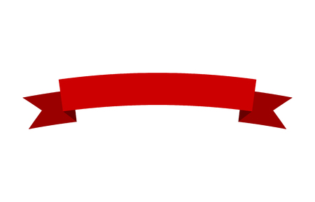 Curved red banner ribbon flat vector design for print and websites Stock fotó - 58321361