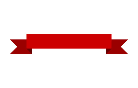 Red banner ribbon flat vector design for print and websites