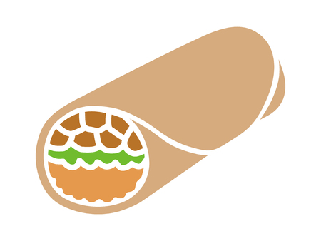 rice and beans: Mexican food burrito wrap with meat and rice flat color icon for apps and websites
