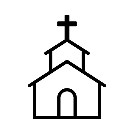 church group: Christian church  chapel with cross line art icon for apps and websites Illustration