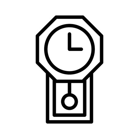 Vintage pendulum wall clock line art icon for apps and websites Illustration