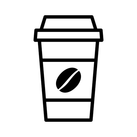 cappucino: Coffee in disposable paper cup with bean line art icon for apps and websites Illustration