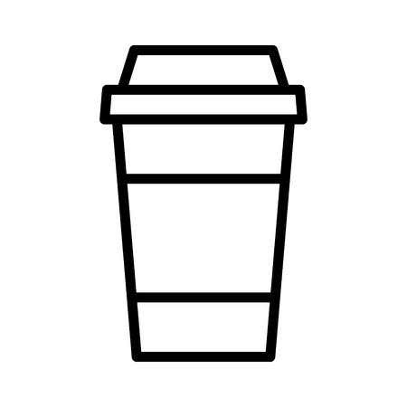 コーヒーや紅茶を使い捨ての紙カップ ライン アート アプリと web サイトのアイコン