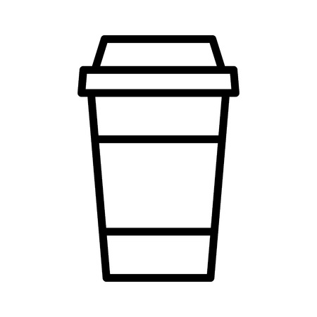 Coffee or tea in disposable paper cup line art icon for apps and websites Illustration
