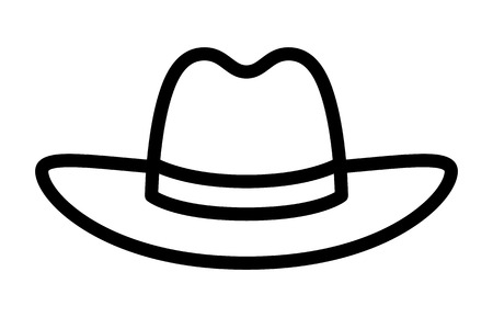 brimmed: Cowboy hat or stetson hat line art icon for apps and websites