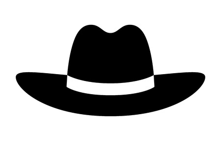 brim: Cowboy hat or stetson hat flat icon for apps and websites