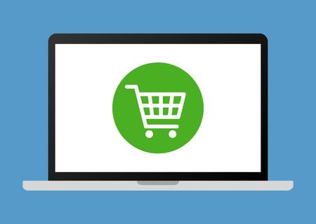 compras compulsivas: Las compras en línea en la ilustración vectorial plana ordenador portátil para aplicaciones y sitios web Vectores