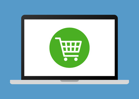 Online shopping on laptop computer flat vector illustration for apps and websites Stock Illustratie