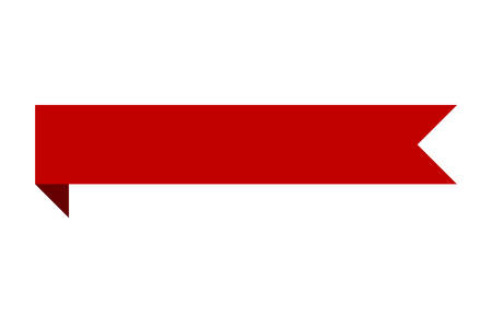 striscia di nastro bandiera rossa con il design piatto curva per la stampa e siti web