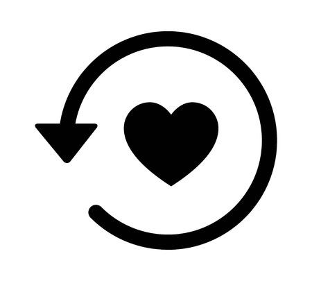 과거 데이트  사랑의 역사 arrow 앱 및 웹 사이트의 플랫 아이콘 일러스트