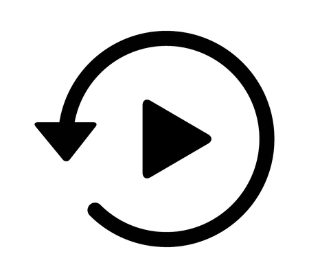 chronicle: Past video play history arrow flat icon for apps and websites