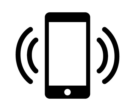 mobile voip: Smartphone  mobile phone ringing or vibrating flat icon for apps and websites