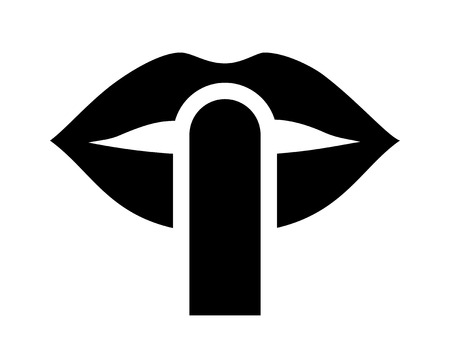 Be quiet / be silent or silence with finger over lips flat icon for apps and websites Stock Illustratie