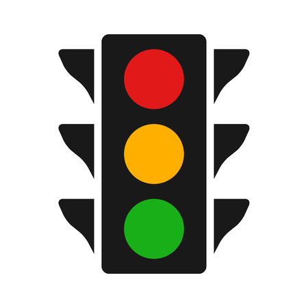 Traffic control light  signal with red, yellow and green color flat icon for apps and websites Illustration