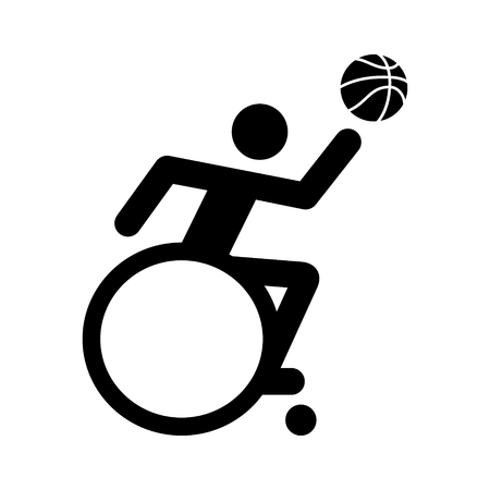 layup: Wheelchair athlete playing basketball with layup flat icon for sports apps and websites