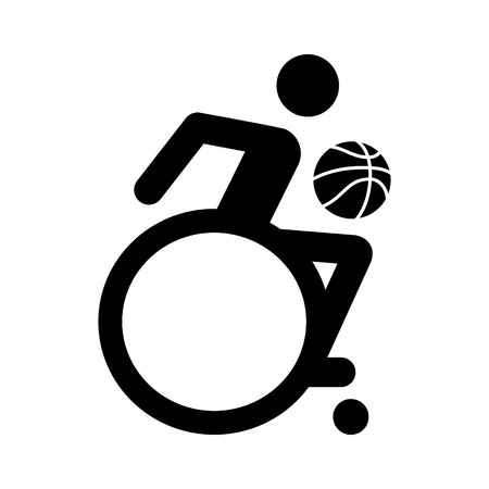 Wheelchair athlete playing basketball flat icon for sports apps and websites