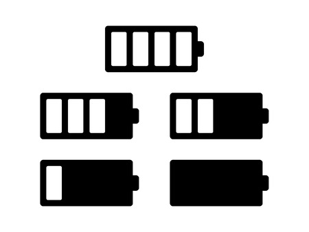 Battery usage or charge status flat icon set for apps and electronic devices