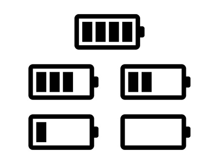 hydride: Battery usage or charge status line art icon set for apps and electronic devices