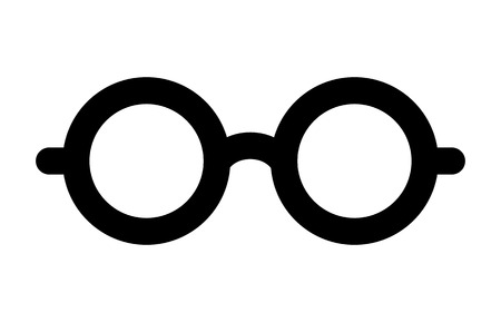 nerdy: Round glasses or reading eyeglasses line art icon for apps and websites