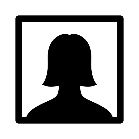 headshot: Female selfie portrait picture  photo flat icon for apps and websites